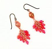 Red Beads Jewelry - 3Fine Design Ethiopian Copper Earrings by Tracy Behrends