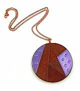 Purple Jewelry Originals - 3Fine Design Geometric Leather Pendant Necklace 2 by Tracy Behrends