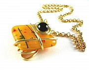 Wrapped Jewelry - 3Fine Design Golden Fused Glass -n- Black Onyx Choker by Tracy Behrends