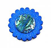Brooch Jewelry - 3Fine Design Leather -n- Abalone Brooch by Tracy Behrends