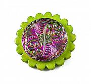 Vine Jewelry Originals - 3Fine Design Leather -n- Glass Brooch by Tracy Behrends