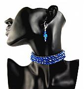 Blue Jewelry - 3Fine Design Midnight Fire Choker by Tracy Behrends