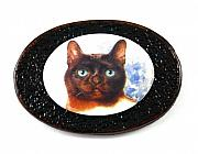 Animals Jewelry Originals - 3Fine Feline Leather Cat Brooch by Tracy Behrends