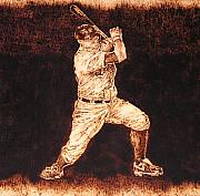 Baseball Bat Pyrography Metal Prints - 3rd. Base Metal Print by Dan LaTour