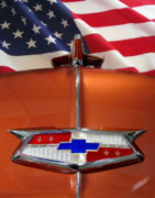 Abstract American Flag Posters - 1954 Chevrolet hood emblem Poster by Peter Piatt