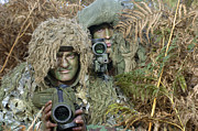 Ghillie Suits Prints - A British Army Sniper Team Dressed Print by Andrew Chittock