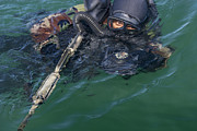 Head Above Water Posters - A Navy Seal Combat Swimmer Poster by Michael Wood