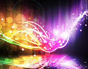 Technology Background Digital Art - Abstract Lighting Effect  by Setsiri Silapasuwanchai