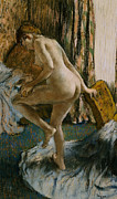 Full-length Portrait Pastels Metal Prints - After the Bath Metal Print by Edgar Degas