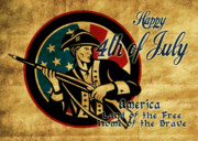Fourth Of July Prints - American revolution soldier general  Print by Aloysius Patrimonio