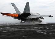 Enterprise Framed Prints - An Fa-18c Hornet Launches Framed Print by Stocktrek Images