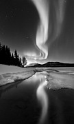Black And White Photography Framed Prints - Aurora Borealis Over Sandvannet Lake Framed Print by Arild Heitmann
