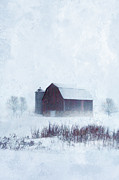 Snow Scene Framed Prints - Barn in Winter Framed Print by Jill Battaglia