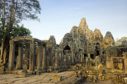 Khmer Framed Prints - Bayon temple Framed Print by MotHaiBaPhoto Prints