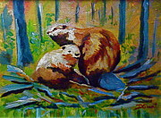 Beaver Painting Prints - 4. Beavers Print by Daniel Grant