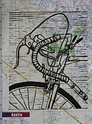 Block Print Drawings - Bike 2 on Map by William Cauthern
