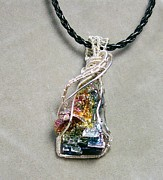 Sparkly Jewelry - Bismuth Crystal and Silver Pendant by Heather Jordan