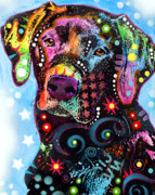 Black Tapestries Textiles Prints - Black Lab Print by Dean Russo