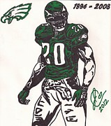 Player Drawings Posters - Brian Dawkins Poster by Jeremiah Colley