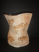 Native American Ceramics - Buffalo Eddie  by Caprice Scott