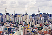 Businesses Prints - Buildings of Downtown Sao Paulo Print by Jeremy Woodhouse