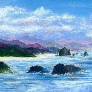 Seascape Pastels Posters - Cannon Beach Poster by David Patterson