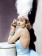 Feathered Hat Framed Prints - Carole Lombard, Ca. 1930s Framed Print by Everett