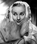 Colbw Framed Prints - Carole Lombard, Portrait Framed Print by Everett