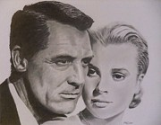 Kelly Drawings Posters - Cary Grant and Grace Kelly Poster by Mike OConnell