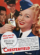 Cigarette Posters - Chesterfield Cigarette Ad Poster by Granger