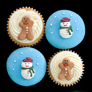 Isolated Against Black Background Posters - Christmas cupcakes Poster by Ruth Black