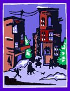 Christmas Street Scene Print by Elinor Mavor
