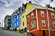 Primary Metal Prints - Colorful houses in St. Johns Newfoundland Metal Print by Elena Elisseeva