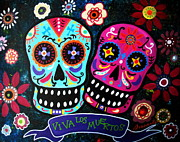 Turkus Framed Prints - Couple Day Of The Dead Framed Print by Pristine Cartera Turkus