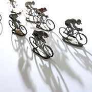 White Prints - Cyclists Print by Bernard Jaubert