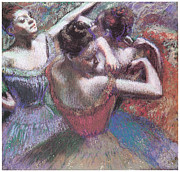 Ballerinas Pastels Metal Prints - Dancers Metal Print by Edgar Degas