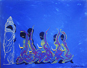 Keys To Heaven Painting Prints - Dinka Wise Virgins Print by Gloria Ssali