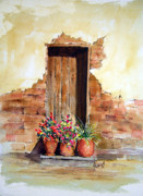 Adobe Painting Prints - Door With Pots Print by Sam Sidders