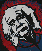 Lino Posters - Einstein 2 Poster by William Cauthern