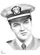 People Drawings Originals - Elvis Presley by Murphy Elliott