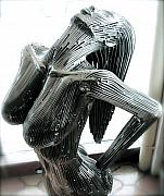 Science Fiction Sculpture Acrylic Prints - Evolution of Eve figure 3 Acrylic Print by Greg Coffelt