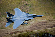 Military Strike Posters - F-15e Strike Eagle Low Flying Poster by Andrew Chittock