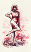 Nude Woman Drawings - Figure Study by Rachel Christine Nowicki