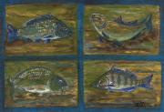 Polish American Folk Art Posters - 4 Fishes Poster by Anna Folkartanna Maciejewska-Dyba