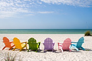Beach Chair Prints - Florida Sanibel Island Summer Vacation Beach Print by ELITE IMAGE photography By Chad McDermott