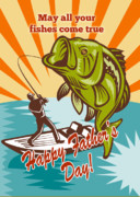 Largemouth Digital Art Prints - Fly Fisherman on boat catching largemouth bass Print by Aloysius Patrimonio