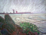 Fog Pastels Prints - Foggy Lake Erie Print by Dayna Jones