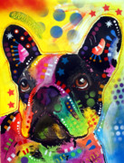 Artist Glass Posters - French Bulldog Poster by Dean Russo