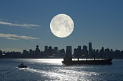 Sea Moon Full Moon Framed Prints - Full Moon Over Vancouver Framed Print by David Nunuk