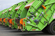 Compressed Metal Prints - Garbage Truck Fleet Metal Print by Don Mason